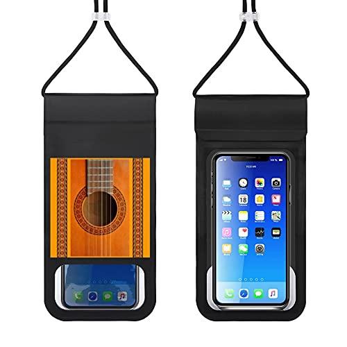 Paquete de teléfono móvil impermeable Bolsa seca del teléfono celular con cordón caso del teléfono de natación al aire libre bolsa de teléfono clásica guitarra roseta cerrar