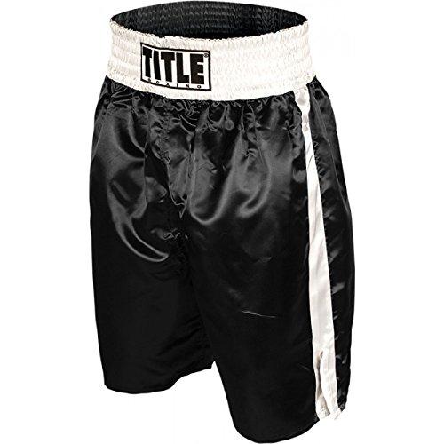 TITLE Professional Boxing Trunks, Black/White, Medium