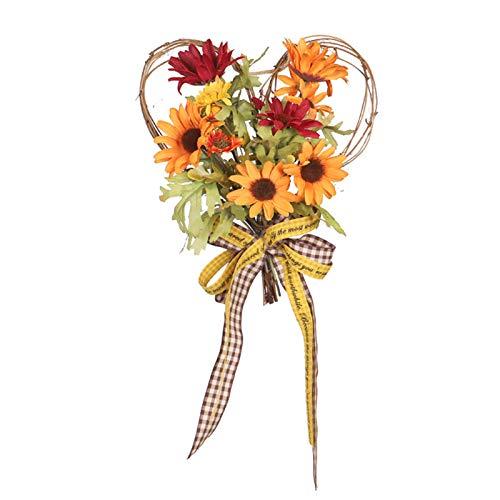 SMLJFO Ghirlande artificiali di girasole in seta a forma di cuore per la primavera e l'estate, con fiocco, per porta d'ingresso, casa, decorazione per matrimoni, 35 x 25 cm, colore: arancione