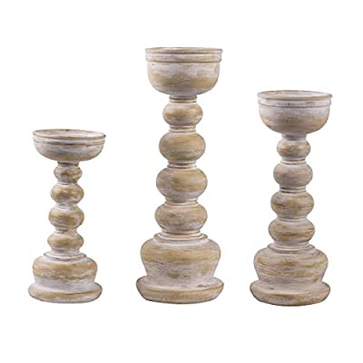 """Shengming Antique Wood Look Wash Finish Pillar Set of 3 Candle Holders W/ 8"""", 10"""",12"""" H.Ideal for LED & Pillar Candles, Gifts for Wedding,Party, Home, Spa, Reiki, Aromatherapy,Votive Candle Gardens."""