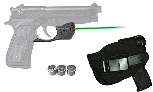 Laser Kit for Beretta 92, 96, 92FS, 96FS, M9 w/ Holster, Touch-Activated ArmaLaser TR20-G Green Laser & 2 Extra Batteries