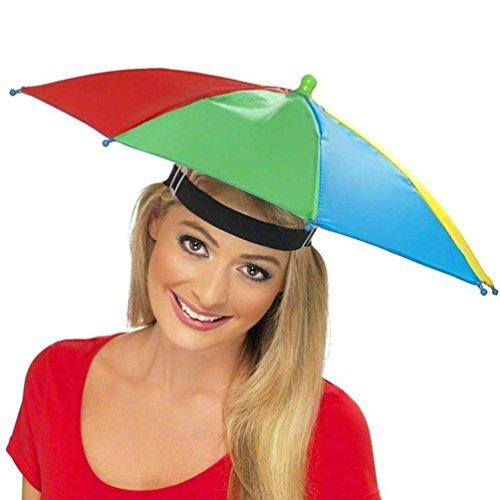 URSING Draussen Faltbar Sonnenschirm Hut Kopfbedeckung Kappe Kopf Hut Regenschirm Hut Neuheit nach Kostüm Hut Ladies Mens Multi Color Festival hat für Golf Angeln Camping Outdoor (Multicolor)