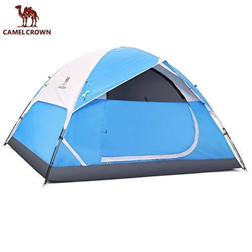 CAMEL CROWN Camping Dome Tent for Hiking,Waterproof Windproof Backpacking Hiking Tents,Easy Set up Lightweight Tents,for Outdoor Camping/Hiking/Traveling (Blue-3/4 Person)