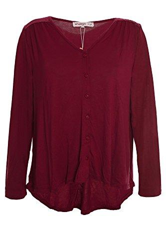 sheego Jerseyjacke Cardigan Jacke Damen Plusgröße Viskose Lagenlook, Farbe:weinrot;Damengrößen:48