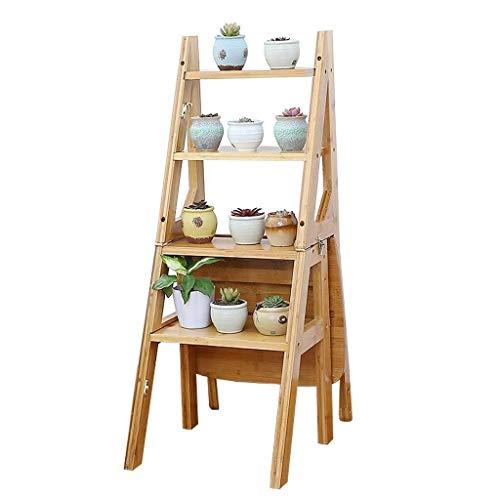 Scaletta Ladder Sgabello Pieghevole di bambù Scala 4 Passi, casa Stair Sedia, Multi-Funzione Ladder/Fiore Stand/Poltrona, applicabile Cucina Biblioteca Ufficio