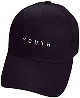 Shmei Washed Embroidery Cotton Baseball Cap Boys Girls Hip Hop Flat Hat Adjustable Dad Hat (Black)