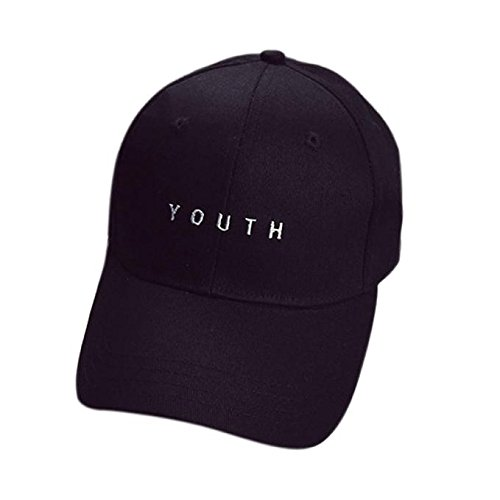 Baomabao Cotton Baseball Cap Boys Girls Snapback Hip Hop Flat Hat (Black)