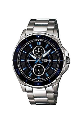 Casio MTD1077D-1A1V - Reloj analógico multifunción de acero inoxidable para hombre, esfera negra