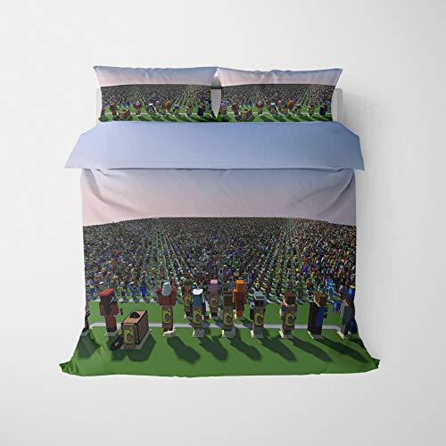 NICHIYO Minecraft Military Duvet Cover Bedding Set - Duvet Cover and Pillow Case, Microfibre, 3D Digital Print Three-Piece Bed Linen (Duvet Cover + Pillowcases) (06, Double 200 x 200 cm)