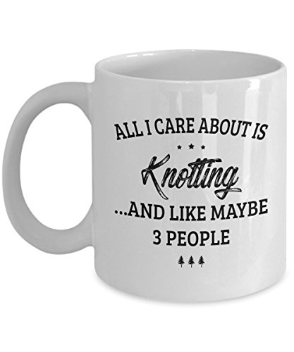 Knotting Mug - I Care And Like Maybe 3 People - Funny Novelty Ceramic Coffee & Tea Cup Cool Gifts for Men or Women with Gift Box