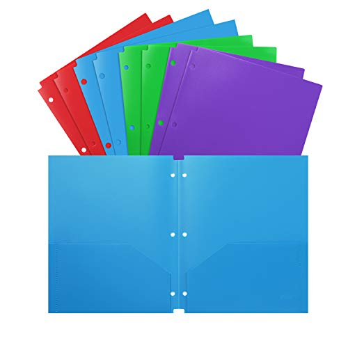 Folders 3 Hole Letter Size 8 Pack Plastic Heavy Duty for School Work and Home Plastic-Folders-with-Pockets Assorted Colors