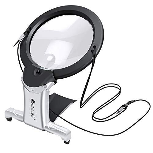 eSynic LED Magnifying Glass 2X 6X Hands Free Magnifying Glass with Light Support Neck Chest-Hung/Desktop 2 LED Light Reading Magnifier for Reading Crafts Inspection Needlework Jewelry Making