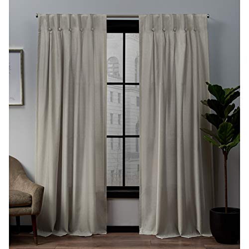 Exclusive Home Curtains Loha Linen Button Top Curtain Panel Pair, 32x84, Beige