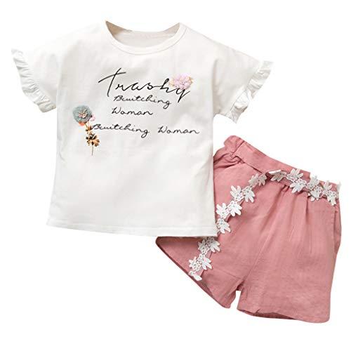 K-youth Camisetas de Niños Estampado de Flor Carta Manga Corta Tops Blusa y Pantalones Cortos Verano Conjunto Niña Ropa Bebe Niño en Ofertas (Rosa, 4-5 años)