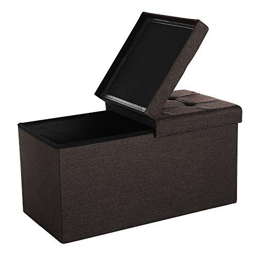 SONGMICS Sitzhocker Sitzbank mit Stauraum faltbar 2-Sitzer belastbar bis 300 kg Schokoladenbraun 76 x 38 x 38 cm LSF47Q