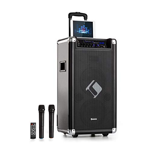auna Moving 120 PA-Anlage - 2 x 8 (20 cm) Woofer, 60 W Nennleistung, 200 W max. Spitzenleistung, XMR-Bass-Technology, VHF-Mikro, USB, SD, Bluetooth, AUX, mobil, integrierter Akku, schwarz