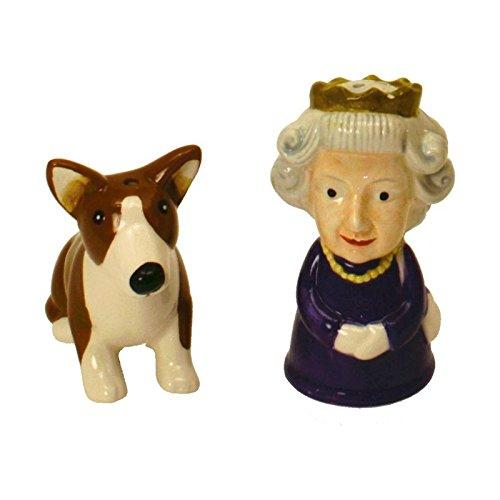 Britische Queen und Corgi Salz- und Pfefferstreuer im 2er Set - Queen und Hund Salzstreuer Salz und Pfeffer Gewürzstreuer Queen Elisabeth Pfefferstreuer