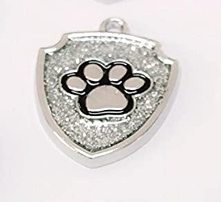 Polykor Useful Shield-Shaped Dog Paw Pattern Pet Necklace Accessories Dog Tag(Silver