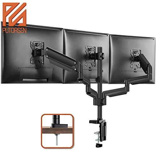PUTORSEN® Monitor Tischhalterung 3 Monitore - Premium Aluminium Ergonomische Schwenkbare Neigbare Höhenverstellbar Monitorhalterung für Drei 17