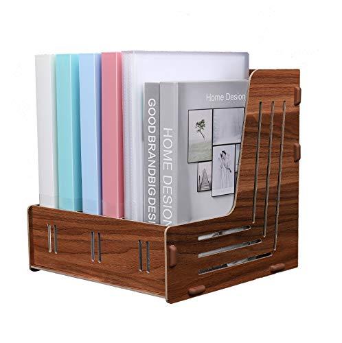 EXERZ Porta Revistas Triple De Madera, Almacenamiento De Archivos De Escritorio, Organizador De Documentos De Papel A4, Estante Y Relleno De Cartas Grandes, Oficina Y Hogar (Color Nogal)
