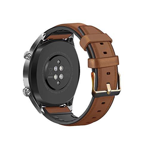 FAAGFC Correa de piel de silicona de 22 mm y 20 mm para Huawei Watch GT2e / GT2 de 46 mm de honor Magic 2, correas de acero inoxidable para GT 2e (color de la correa: marrón, ancho de la correa: GT2e)
