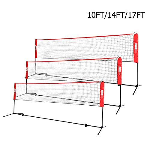 VIVOHOME Portable 10ft Height Adjustable Outdoor Badminton Net Set with Stand and Carry Bag for Volleyball Soccer Tennis Pickleball Red
