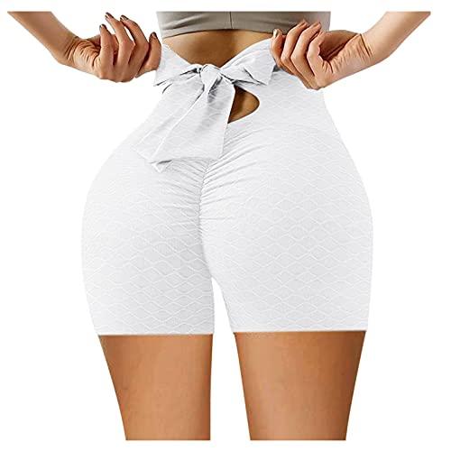 Pudyor Pantalones Cortos de Cintura Alta con Bowknot Shorts Deportivos Casual Leggins Levante los Cadera Pantalón de Deporte Transpirables Elásticos Mallas de Yoga para Correr Gym Fitness