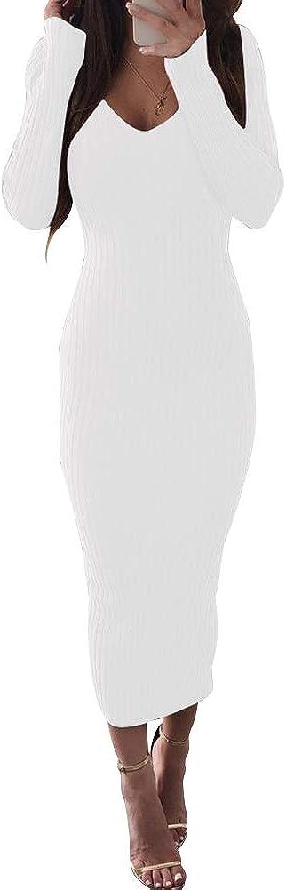 Zyyfly Women Fall Sexy V Neck Knit Long Sleeve Solid Ribbed Bodycon Midi Dress