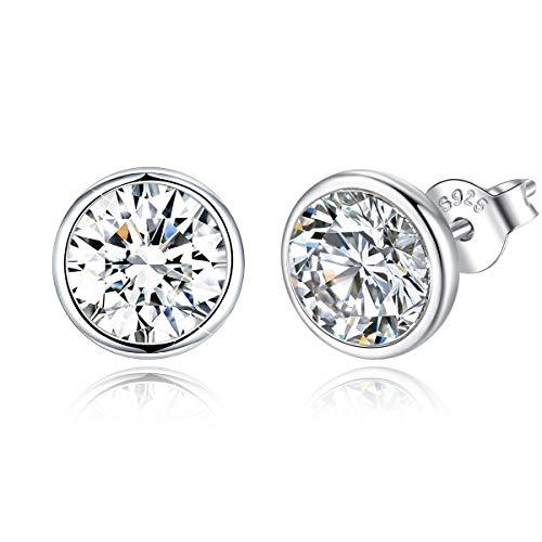 Orecchini a bottone in cristallo argento 925 tondi classici, anniversario, regali di nozze per le donne, elegante scatola di gioielli (bianca)