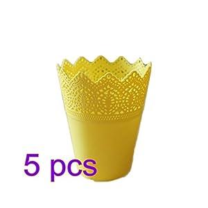 Outflower 5PCS Diseño Minimalista macetas de plástico Huecas Jarrón de plástico Decoración del hogar Floreros,Amarillo,14 * 10 * 7CM