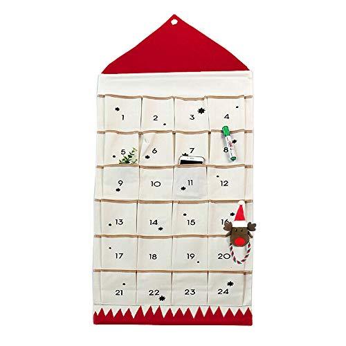 ZuoLan Adventskalender zum befüllen Weihnachten Kalender befüllbar,24 Taschen Stoff Weihnachtskalender zum Aufhängen Weihnachtlichen Ornamente (Rot)
