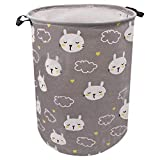 ZUEXT 19.7x15.7 Inch Cotton Canvas Laundry Hamper, Waterproof Canvas Fabric Storage Baskets with Handles,Boy and Girl Laundry Basket Collaspible Hamper for Household,Gift Baskets,Toy Organizer(Cat)