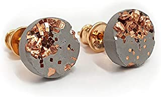 """Concrete Jungle """"OHRSTECKER """" COPPER ROSÉ"""" approx. 10 mm Large Copper & Glitter Decorated Perfect Gift For Her"""