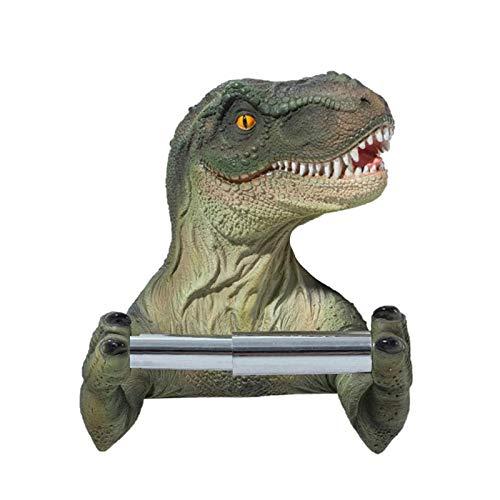 HMMJ Tenedor de papel higiénico del dinosaurio, soporte de tejido de acero inoxidable, papeleo de papel de baño, producto de baño de pared, sin perforación necesaria diseño de vara elástica, para hoga
