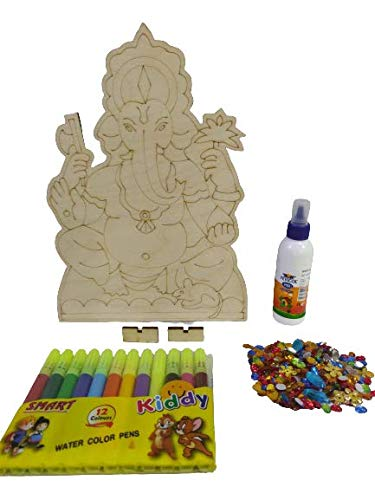 AMVM CREATION LLP Wooden GANESHA with Detailing 8X8 INCH on PREMIUM BIRCH Ply WITH STAND and SKETCH PENS and multicolour RHINESTONES, Cutout for Kids DIY, Gift, Art & Craft . Laser cut in economical packing