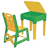 Pihu Enterprises Study Table And Chair Set With Storage For Kids-Yellow And Green