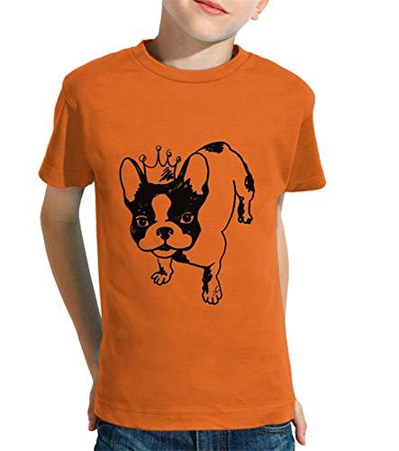 latostadora - Camiseta Bulldog Frances para Nino y Nina Naranja XS