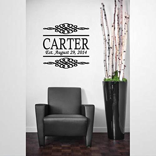 Pegatinas de pared de vinilo con apellido de la familia Swirl X | Adhesivo decorativo para pared | Mural extraíble para decoración del hogar para dormitorio, sala de estar, guardería en interiores.