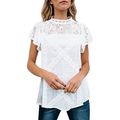 LAEMILIA Damen T-Shirt Elegant mit Rückausschnitt Spitze Kreuz Kurzarm Oberteil Sommer Bluse