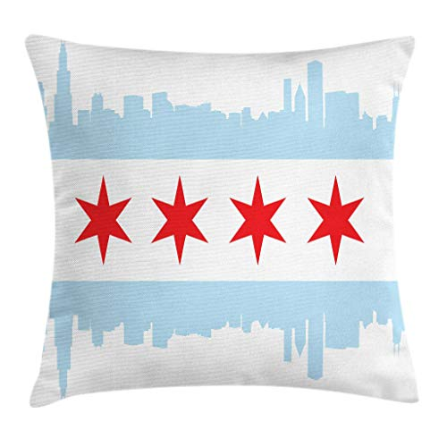 Chicago Skyline Sofa Fundas de Colchón Cremallera Oculta Funda de Almohada City of Chicago Flag with High Rise Buildings Scenery National Decorative Square Accent 20 X 20 Inches Red White