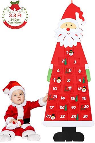 Aitsite Weihnachtsfilz Adventskalender, 3.8Ft Wandbehang Santa Filz Adventskalender mit 24-Tage-Taschen Weihnachten Countdown-Kalender Dekorationen für Neujahr Home Office Türwand-Rot