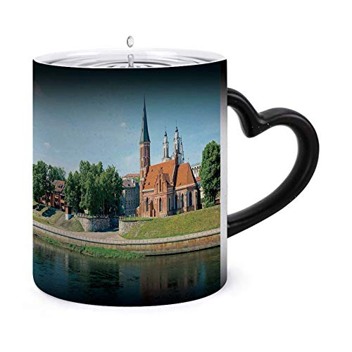Cityscape, Gammal Town Day Time Landscape Cup of Coffee – One 30 ml Morphing Mugs Color Changing Heat Sensitive Keramisk Mug – Bild Revealed When HOT Liquid Is Added! Stil – 7978
