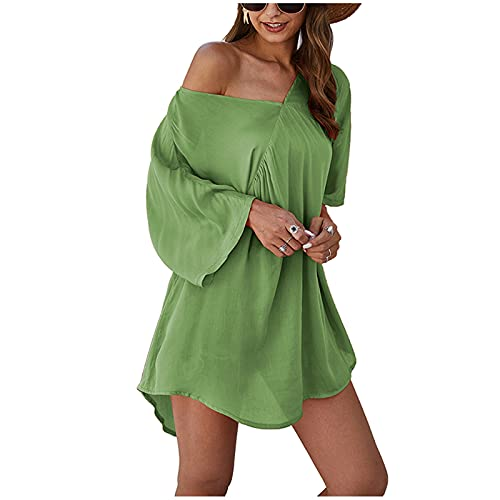 TYTUOO Mujeres Túnica V-cuello Color puro 3/4 manga algodón lino fácil vestido sección delgada suelta playa estilo sexy superior cómodo elegante
