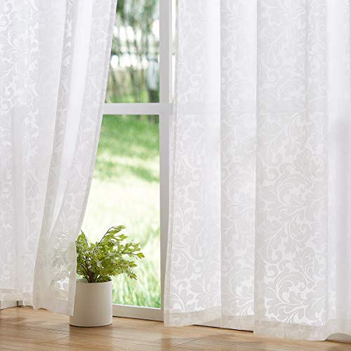 Treatmentex Sheer White Curtains for Bedroom with Scroll Leaf Pattern 95' Long Transparent Rod Pocket Voile Window Draperies 54' x2Panels