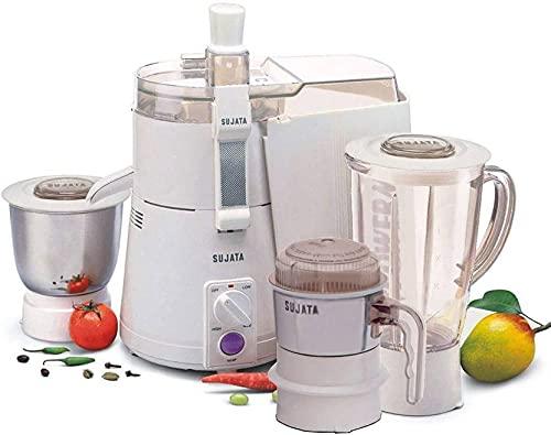 Sujata Powermatic Plus 900 WATTS Juicer Mixer Grinder , With Free Chutney Jar (3 Jars, White)
