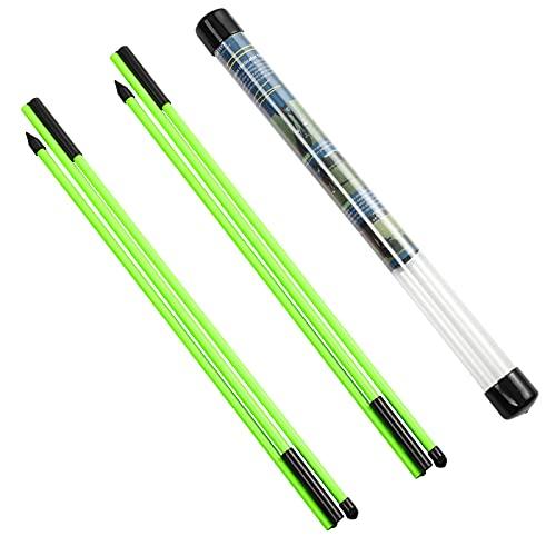 Rhino Valley Golf Alignment Sticks Richtungsanzeige, 2 Stück Klappbar Golfübungsstangen mit Durchsichtigem Aufbewahrungsrohr, Tragbar Golf Ausrichtungsstab zum Zielen Putten Trainer, Grün