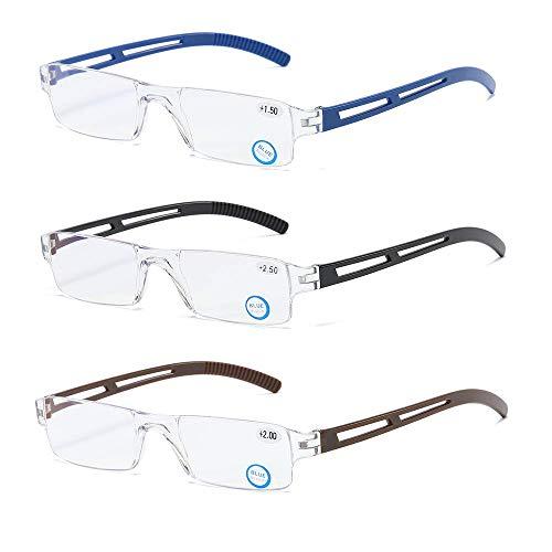 3 stueck Rahmenlose Lesebrille Sehhilfe mit Blaulichtflilter Anti Blaulicht Lesehilfe für Damen und Herren +1.5