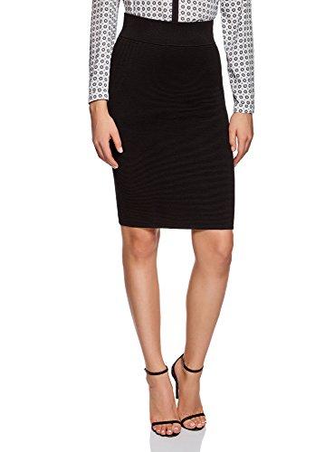 oodji Collection Mujer Falda de Punto Básica Texturizada, Negro, ES 36 / XS