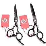 Suministros color de 5,5 / 6,0 pulgadas de alta Fin salón de peluquería profesional tijeras Conjunto del peluquero del peluquero adelgazamiento de cizalla de acero 440C corte de pelo,Negro,6.0inch