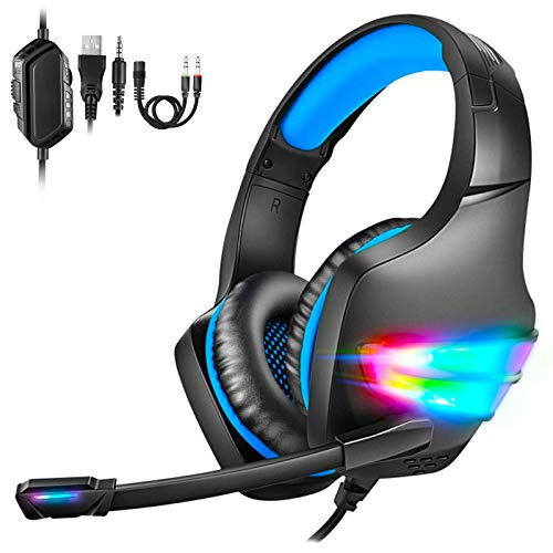 Auriculares para Videojuegos PS4, LED, Micrófono y Cancelación de Ruido Ajustable,...